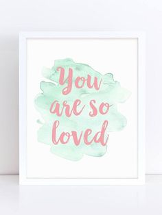 Nursery Quote, You Are So Loved Art, Isnt She Lovely, Home Decor, Kids Wall Art, Animal Nursery Decor, Nursery Printable, Printable Art - baby girl - girls room #affiliate