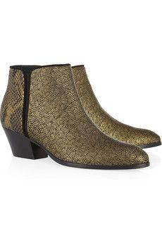 Giuseppe Zanotti Metallic stingray-effect and python-effect leather boots