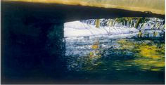 """bridge in winter eramosa river 1 16"""" x 40"""" micheal zarowsky watercolour on arches paper - private collection"""
