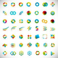 Free - Set of Colored Abstract logo design elements vector 06