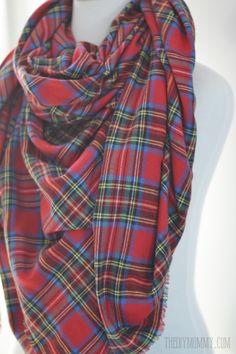 Make an Easy No Sew DIY Plaid Blanket Scarf | The DIY Mommy