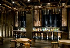 Delicious Agony: Japanese Inspiration for The Design of Modern Restaurants: Maya Bar Monaco | A brighter design, love the use of ambient light and spotlights; Spotlights on tables, footlights at the bar, backlit bar and accents.