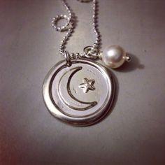 Personalized Pewter Wax Seal Pendant  Moon & by KristinesKeepsakes, $22.00