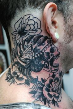 Mens Neck Tattoo With Skull And Roses