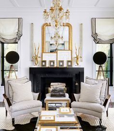 b & w stripes are chic in this black and white and gold room ~ Megan Winters
