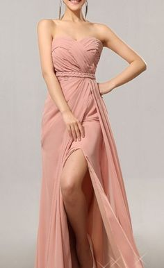 Discount A-line Split Blush Bridesmaid Dress,Sexy Split Prom Dress,Prom Gown,Blush Party Dress