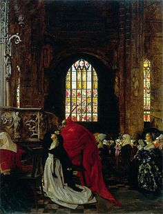 Title: Mephistopheles and Marguerite in the Cathedral,   Artist: Frank Cadogan Cowper  Location: Private Collection