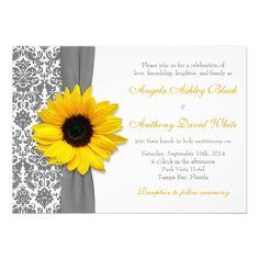 Sunflower Yellow Pewter Grey White Damask Wedding Custom Invites