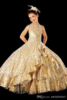 2014 Spring Girl's Pageant Dresses Lovely Cute Halter Gold Sequins Ruffles Ball Gown Princess Party Flower Girl Dresses, $70.32 | DHgate.com