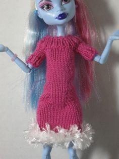 Knitted Fur-Trimmed Sweater Dress for Monster High. $9.00, via Etsy.