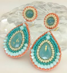 Items similar to Bridal Earrings coral salmon Pastel Opal Mint Blue Pearl Peach Pear Tear Drop Bridesmaids Maid of Honor Wedding Jewelry Summer Spring Bride on Etsy Jewelry Design Earrings, Coral Earrings, Soutache Earrings, Seed Bead Jewelry, Bead Jewellery, Bead Earrings, Diy Jewelry, Beaded Jewelry, Handmade Jewelry