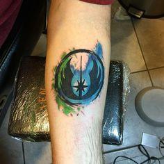 #tattoo #tattoos #starwars #Jedi #invictatattoo #bloomsburg Got to do this Jedi Order symbol today . Star Wars rules !