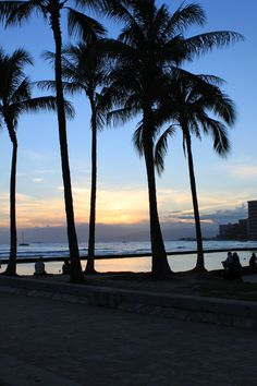 sunset over Waikiki Beach, Oahu LOVED this place! would go back in a heart beat!! <3