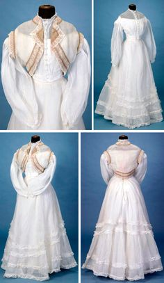 Three-piece summer organdy ensemble, ca. 1867-68. Bodice has internal muslin short sleeve underbodice with embroidered sawtooth edging. No boning or boning chanels inside; drop-shoulder style. Full bishop sleeves. Collar & cuffs edged w/Valenciennes lace. Vest with lavender taffeta insertions. Two-layer skirt unlined. Underskirt has deep chiffon frill w/Valenciennes lace trim. Trousseau.net via web.archive.org