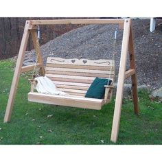 Creekvine Designs Royal Country Hearts Cedar Porch Swing with Stand - WF1025A60CVD