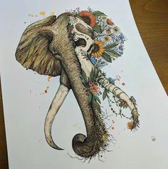 Cool Skull Tattoos For Women – My hair and beauty Kunst Tattoos, Skull Tattoos, Tattoo Drawings, Girl Tattoos, Sleeve Tattoos, Art Drawings, Bodysuit Tattoos, Tatoo Elephant, Elephant Skull