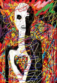 There is no pattern. The lines seem angry and outraged. Abstract Drawings, Art Drawings, Abstract Faces, Funky Art, Illustrations, Online Art, Art Images, Art Inspo, Fine Art America