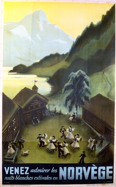 Norway - White Nights Festival, 1937 - original vintage poster by Damsleth / Myres listed on AntikBar.co.uk