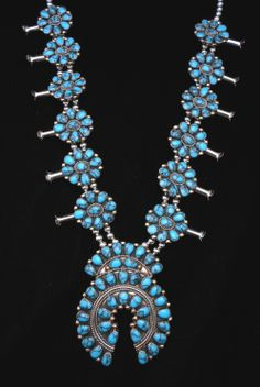 Zuni sterling and turquoise squash blossom