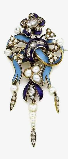 A mid 19th century enamel, pearl, and diamond brooch/pendant. Designed as a sky blue enamel bow, surmounted by a royal blue enamel flowerhead and further floral details, accented by rose-cut diamonds and pearl leaves, suspending a pearl and rose-cut diamond fringe, pearls untested, length 6.8cm, fitted case