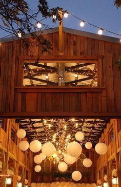 Rustic Wedding - Barn Reception - lanterns and string lights = cheap.