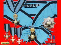 Poland - War Order of the Virtuti Militari: (1 & 2) 1st Class Grand Cross and Star, (3) 2nd Class Commander's Cross, (4) 3rd Class Knight's Cross, (5) 4th Class Gold Cross, (6) 5th Class Silver Cross, (top) and ribbon bars.