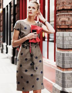 Notch Neck Shift WH458 Knee Length Dresses at Boden