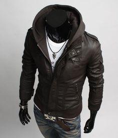 """Chaqueta hombre con capucha desmontable """"K Style"""" - Chaquetas de cuero hombre"""
