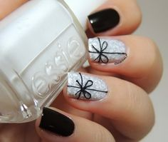 Black and White Present Nail Design.