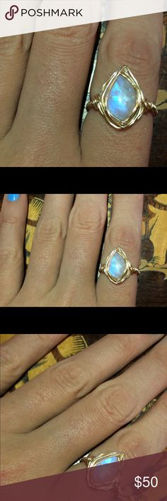 SALE Moonstone size 5 wire wrapped ring Brand new, created by myself. Gold moonstone size 5 wire wrapped ring Jewelry Rings