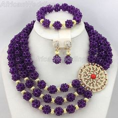 3-Row 4mm Crystal Beads Ball Necklace, African Nigerian Wedding Crystal Beads Necklace Set,African Costume Beaded Jewelry Set.$75.68