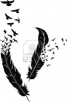 Two stylized feathers with scattering birds in the form of a tattoo Stock Photo