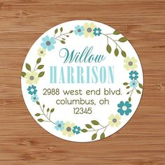 Teal & Sage Floral Wreath - Custom Address Labels or Stickers by PoshGirlBoutique