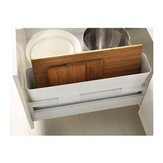 VARIERA Storage box IKEA Makes it easier to organise and find what you need in the drawer. Ideal for chopping boards, pot lids and baking pa. Ikea Kitchen Drawer Organization, Ikea Kitchen Drawers, Ikea Storage Boxes, Storage Boxes With Lids, Small Bathroom Storage, Kitchen Storage, Home Organization, Ikea Shopping, Ikea Decor