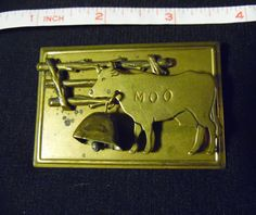MOO Cow Brass Brooch/Pin with Bell Charm by JAN MICHAELS  #JanMichaels