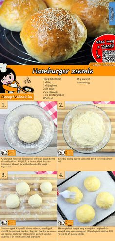 Burger selber machen geht ganz leicht mit unserem Hamburgerbrötchen Rezept mit … Making burgers yourself is easy with our hamburger bun recipe with video! The Hamburger Bun Recipe Video is easy to find using the QR code 🙂 buns Daisy Recipe, Hamburger Bun Recipe, Hamburger Buns, Good Food, Yummy Food, Hungarian Recipes, Lentil Soup Recipes, Diy Food, No Cook Meals