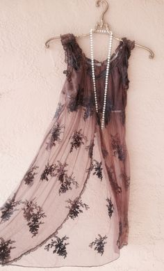 Image of Anthropologie gypsy boho mocha sheer embroidery lace dress