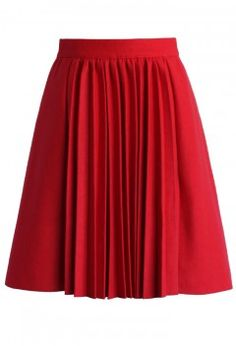 Accordion Pleats Wool Blend Skirt in Red - Buyer's Pick - Retro, Indie and Unique Fashion