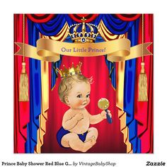 Prince Baby Shower Red Blue Gold Blonde Invitation