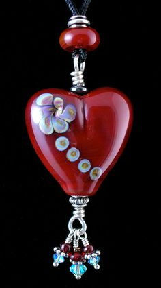Red Heart Shaped Artisan Made Lampwork Glass Bead Adjustable Necklace