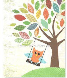 Nursery Art Print Treetop Owl Swing Wall Art by SweetPeaNurseryArt