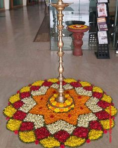 50 Most Beautiful Flower Rangoli Designs (ideas) that you can make during any occasion on the living room or courtyard floors. Rangoli Designs Simple Diwali, Rangoli Designs Flower, Free Hand Rangoli Design, Rangoli Border Designs, Colorful Rangoli Designs, Rangoli Ideas, Flower Rangoli, Beautiful Rangoli Designs, Onam Pookalam Design