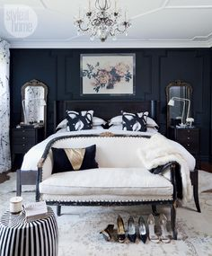 Bedroom Design: Moody and dramatic master suite...