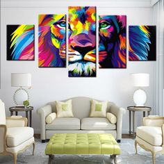 Wall Decor Canvas colorful skull painting - 5 piece canvas | canvas art | pinterest
