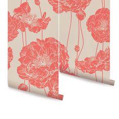 Peony Dark Salmon Peel & Stick Fabric Wallpaper Repositionable