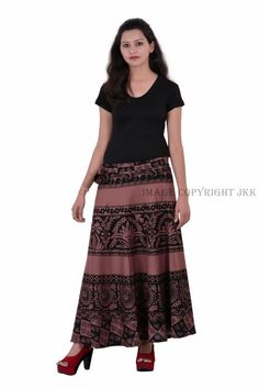 Skirt Indian Women Printed Brown Wrap Around Cotton Calf Long Skirt Indian Skirt, Wrap Around Skirt, Floral Blazer, Brown Skirts, Print Wrap, Short Tops, Cotton Skirt, Western Outfits, Calves