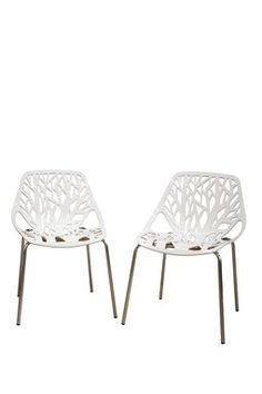 Birch Sapling Plastic Accent/Dining Chair - White - Set of 2
