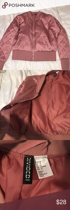 Silky pink bomber jacket!💕 Gently used fitted silky pink bomber jacket💕 it's in mint condition, just has a little hole in the left front pocket. (Listed as UO for exposure) US size 12 Urban Outfitters Jackets & Coats Puffers