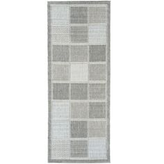Ottomanson Jardin Collection Contemporary Boxes Design Gray 2 ft. 7 in. x 7 ft. Outdoor Rug Runner-JRD8853-3X7 - The Home Depot
