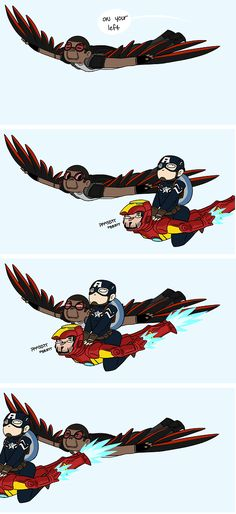 Captain America enlists Iron Man's help to really drive Falcon insane. (Vague Captain America: Winter Soldier spoilers)